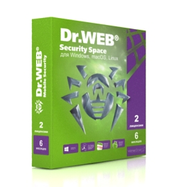 Dr.Web Security Space - на 2 ПК, на 6 мес.